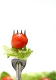 Salad fork. Fork with a cherry tomato and lettuce Stock Image