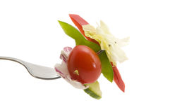 Salad on a Fork. Fork full of salad on a white background Royalty Free Stock Image