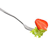 Salad on fork Royalty Free Stock Photography