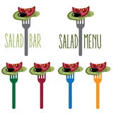 Salad on the fork Stock Images