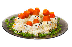 Salad in the form of snowmen Royalty Free Stock Photo
