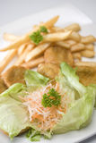 Salad with french fries. French fries with salad serve in hot Royalty Free Stock Photography