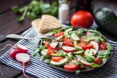 Salad with fresh avocado,tomato,cucumber,radish Royalty Free Stock Images