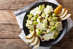 Salad of fresh Brussels sprouts, hazelnuts, cheese, raisins and. Pears closeup on a plate. Horizontal top view from above Royalty Free Stock Images