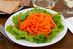 Salad with fresh carrot on the plate Stock Images