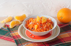 Salad of fresh carrots with orange slices Stock Photo