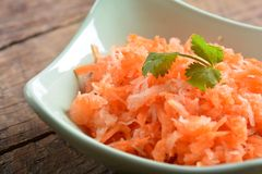 Salad from fresh carrots and radish Royalty Free Stock Photos