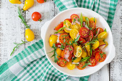 Salad of fresh cherry tomatoes Royalty Free Stock Images