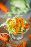Salad of fresh chopped cabbage and carrots Stock Photos