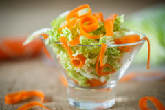 Salad of fresh chopped cabbage and carrots Royalty Free Stock Images