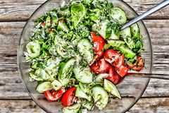 Salad of fresh cucumbers and tomatoes, with herbs and seeds Royalty Free Stock Images