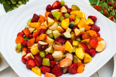 Salad with fresh fruits and berries. Bowl of healthy fresh fruit salad Royalty Free Stock Photo