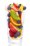 Salad with fresh fruits and berries in glass Stock Images