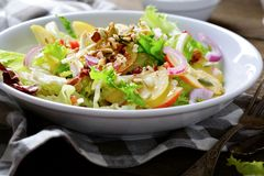 Salad with fresh fruits, walnuts and vegetables Stock Photography