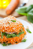 Salad with fresh grated carrots with spinach Stock Photos