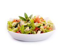 Salad from fresh green-stuffs. And cheese with spices Royalty Free Stock Photos