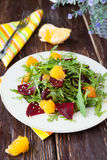 Salad with fresh greens, beets and oranges Royalty Free Stock Image