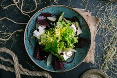 Salad of fresh greens, cheese and radish in rustic style stock photos
