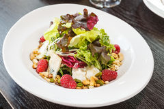 Salad. Of fresh greens, gorgonzola cheese, pine nuts, raspberries Stock Photography