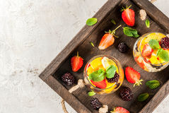 Salad of fresh organic fruits Stock Images