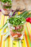 Salad with fresh radishes and green onions. Close up Royalty Free Stock Image