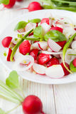 Salad of fresh radishes on a white plate. Food Stock Photo