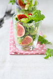 Salad with fresh rocket salad and figs Stock Images