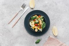 Salad with fresh summer vegetables, top view. Flat lay Royalty Free Stock Photography