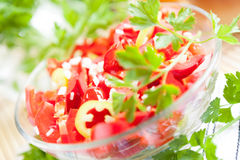 Salad with fresh sweet red pepper Stock Image