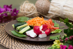 Salad with fresh tomato cheese, olive, radish. Appetizer. Healthy. Restaurant Royalty Free Stock Images