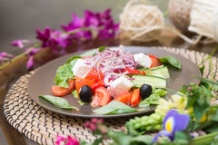Salad with fresh tomato cheese, olive, radish. Appetizer. Healthy. Restaurant Stock Photo