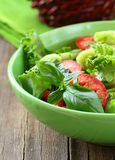Salad of fresh tomato, cucumber and basil Stock Image