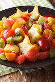Salad of fresh tropical fruits close-up on a plate. vertical Royalty Free Stock Photo