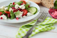 Salad with fresh vegetable and cheese Royalty Free Stock Photo