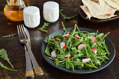 Salad of fresh vegetables - arugula, radish in black plate with flat bread tortilla. Healthy food. Salad of fresh vegetables - arugula, radish in black plate Stock Photos