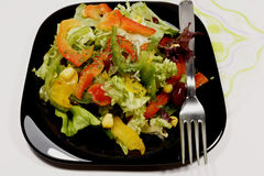 Salad with fresh vegetables on black plate Royalty Free Stock Photos