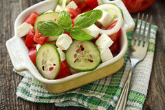 Salad with fresh vegetables and cheese Royalty Free Stock Photography