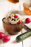 Salad with fresh vegetables and cottage cheese Royalty Free Stock Photos