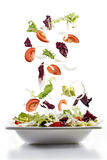 Salad with fresh vegetables falling on plate Royalty Free Stock Photo