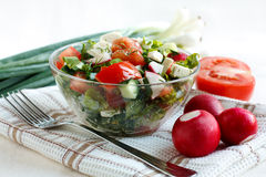Salad with fresh vegetables and feta cheese. In a salad bowl on a fabric napkin. Ingredients for the salad in the background Royalty Free Stock Photo