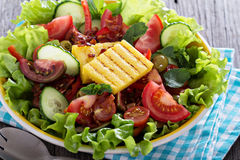 Salad with fresh vegetables, grilled polenta Royalty Free Stock Photos