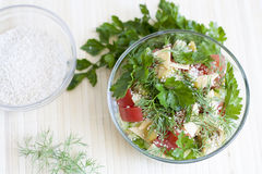 Salad. From fresh vegetables with herbs stock photography