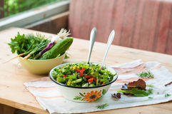 Salad with fresh vegetables and lettuce Royalty Free Stock Photo