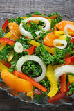Salad with fresh vegetables and mandarins Stock Image