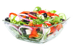 Salad with fresh vegetables, olives and cheese Royalty Free Stock Image