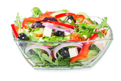 Salad with fresh vegetables, olives and cheese Royalty Free Stock Images