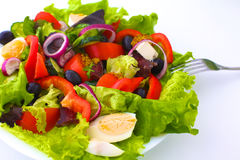 Salad from fresh vegetables in a plate on a table, selective focus Stock Photography