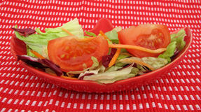 Salad fresh vegetables in red plate Stock Photos