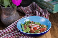 Salad of fresh vegetables. Sorrel, tomatoes and onions Stock Photo