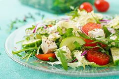 Salad of fresh vegetables - tomato, cucumber and feta cheese. In Greek style Royalty Free Stock Image
